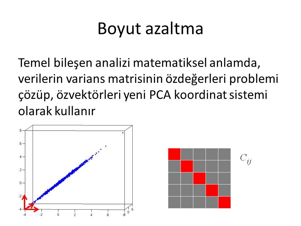 Boyut azaltma Temel bileşen analizi matematiksel anlamda, verilerin varians matrisinin özdeğerleri problemi çözüp, özvektörleri yeni PCA koordinat sistemi olarak kullanır
