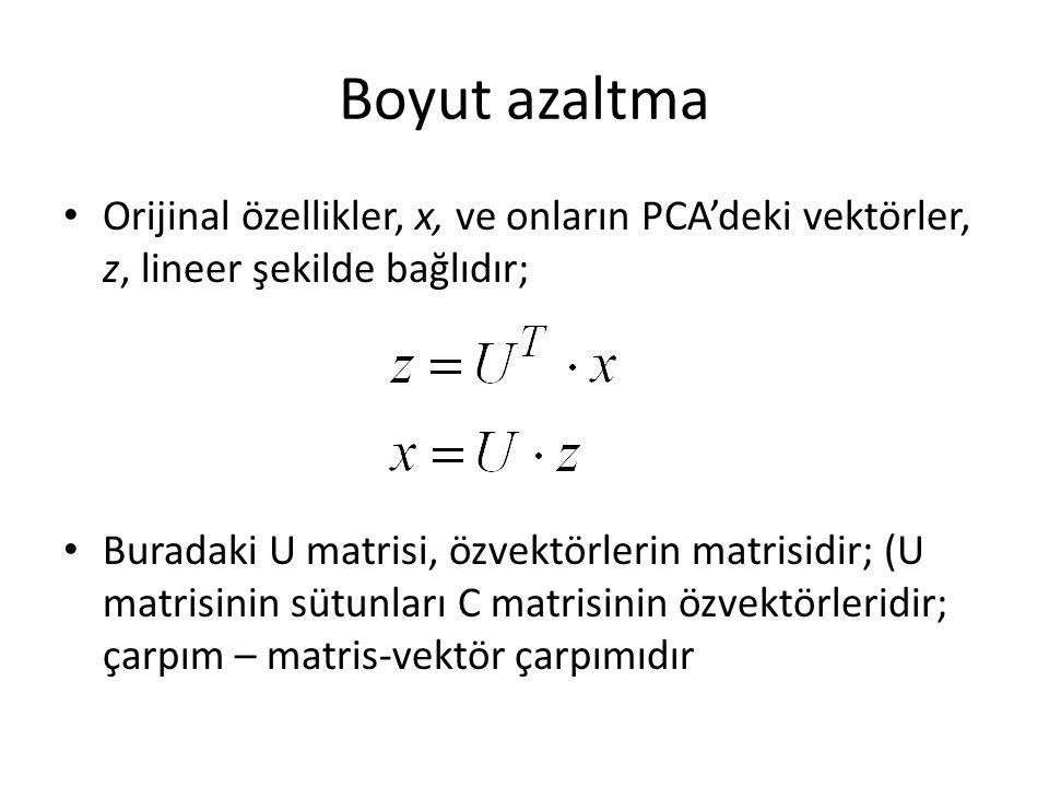 Boyut azaltma Orijinal özellikler, x, ve onların PCA'deki vektörler, z, lineer şekilde bağlıdır; Buradaki U matrisi, özvektörlerin matrisidir; (U matrisinin sütunları C matrisinin özvektörleridir; çarpım – matris-vektör çarpımıdır