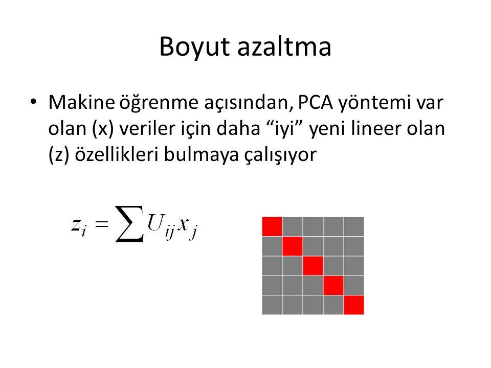 Boyut azaltma Makine öğrenme açısından, PCA yöntemi var olan (x) veriler için daha iyi yeni lineer olan (z) özellikleri bulmaya çalışıyor