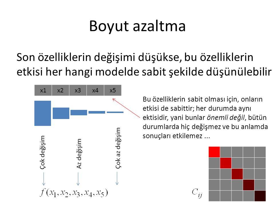 Boyut azaltma Son özelliklerin değişimi düşükse, bu özelliklerin etkisi her hangi modelde sabit şekilde düşünülebilir x1x2x3x4x5 Çok değişim Az değişimÇok az değişim Bu özelliklerin sabit olması için, onların etkisi de sabittir; her durumda aynı ektisidir, yani bunlar önemli değil, bütün durumlarda hiç değişmez ve bu anlamda sonuçları etkilemez...