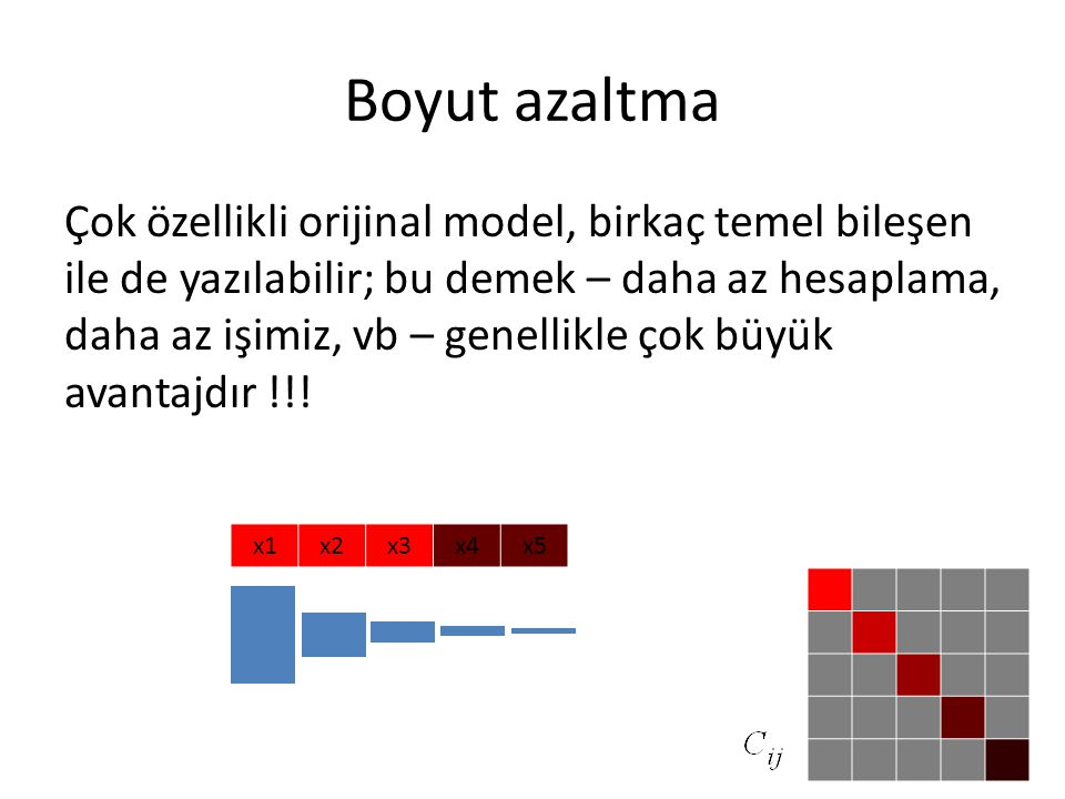 Boyut azaltma Çok özellikli orijinal model, birkaç temel bileşen ile de yazılabilir; bu demek – daha az hesaplama, daha az işimiz, vb – genellikle çok