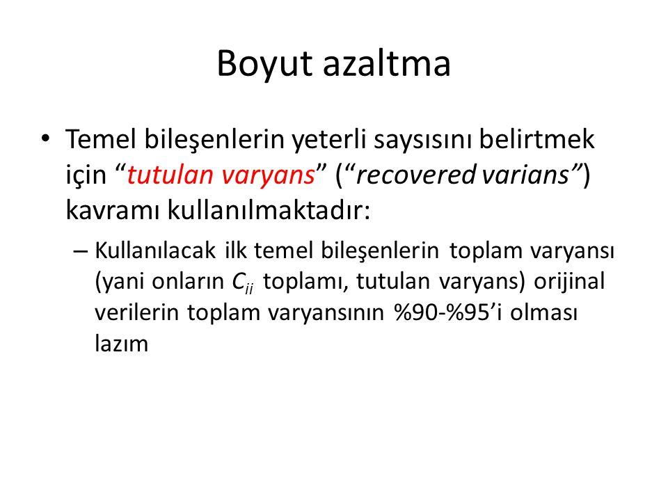"""Boyut azaltma Temel bileşenlerin yeterli saysısını belirtmek için """"tutulan varyans"""" (""""recovered varians"""") kavramı kullanılmaktadır: – Kullanılacak ilk"""