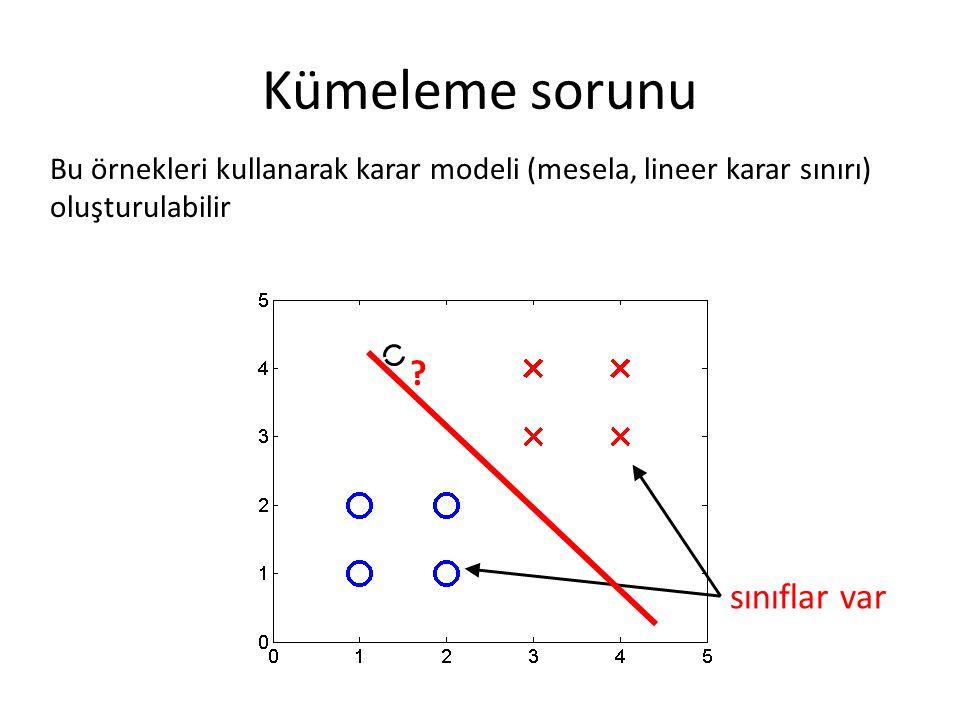 Kümeleme sorunu sınıflar var Bu örnekleri kullanarak karar modeli (mesela, lineer karar sınırı) oluşturulabilir ?