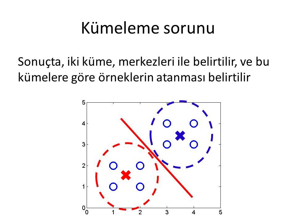 Kümeleme sorunu Sonuçta, iki küme, merkezleri ile belirtilir, ve bu kümelere göre örneklerin atanması belirtilir