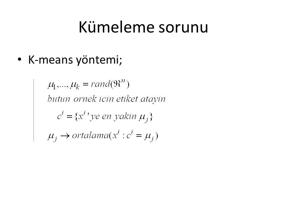Kümeleme sorunu K-means yöntemi;