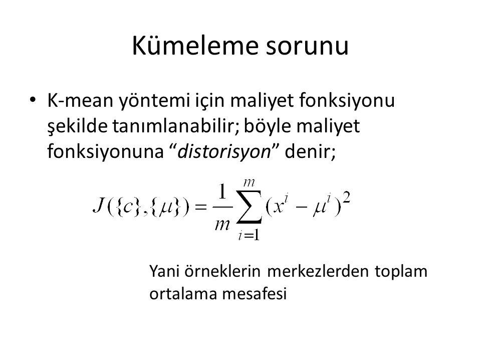 Kümeleme sorunu K-mean yöntemi için maliyet fonksiyonu şekilde tanımlanabilir; böyle maliyet fonksiyonuna distorisyon denir; Yani örneklerin merkezlerden toplam ortalama mesafesi