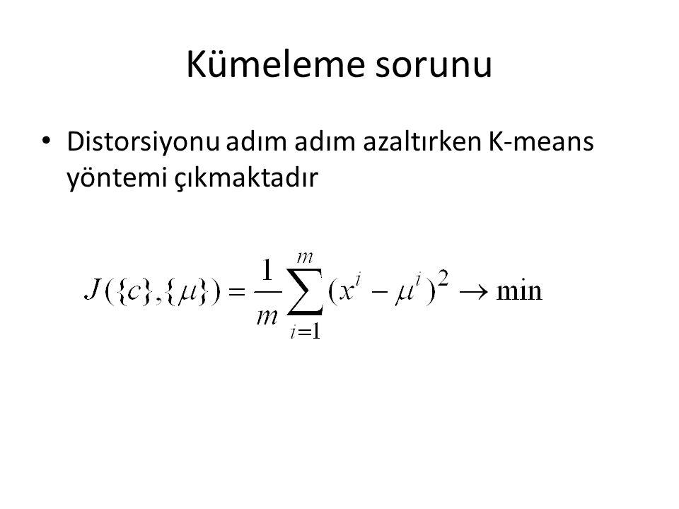Kümeleme sorunu Distorsiyonu adım adım azaltırken K-means yöntemi çıkmaktadır