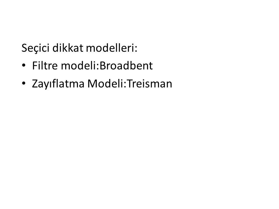 Seçici dikkat modelleri: Filtre modeli:Broadbent Zayıflatma Modeli:Treisman
