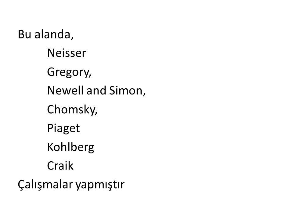 Bu alanda, Neisser Gregory, Newell and Simon, Chomsky, Piaget Kohlberg Craik Çalışmalar yapmıştır