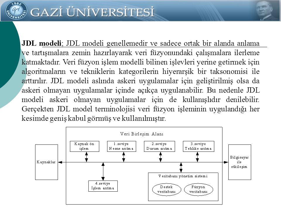 JDL modeli; JDL modeli genellemedir ve sadece ortak bir alanda anlama ve tartışmalara zemin hazırlayarak veri füzyonundaki çalışmalara ilerleme katmak