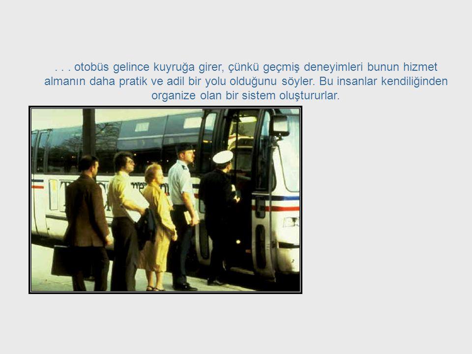 Örneğin; düzensiz bir şekilde otobüs bekleyen bir grup insan... Waiting in Line
