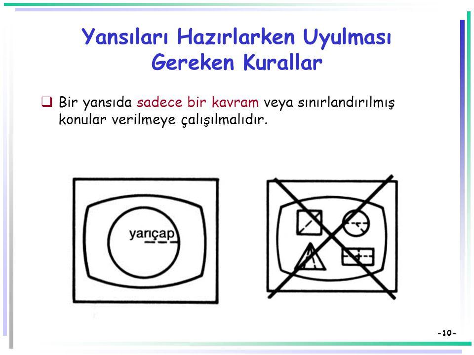 -9- Yansıları Hazırlarken Uyulması Gereken Kurallar  Yansılarda görsel düşünceler yer almalıdır.