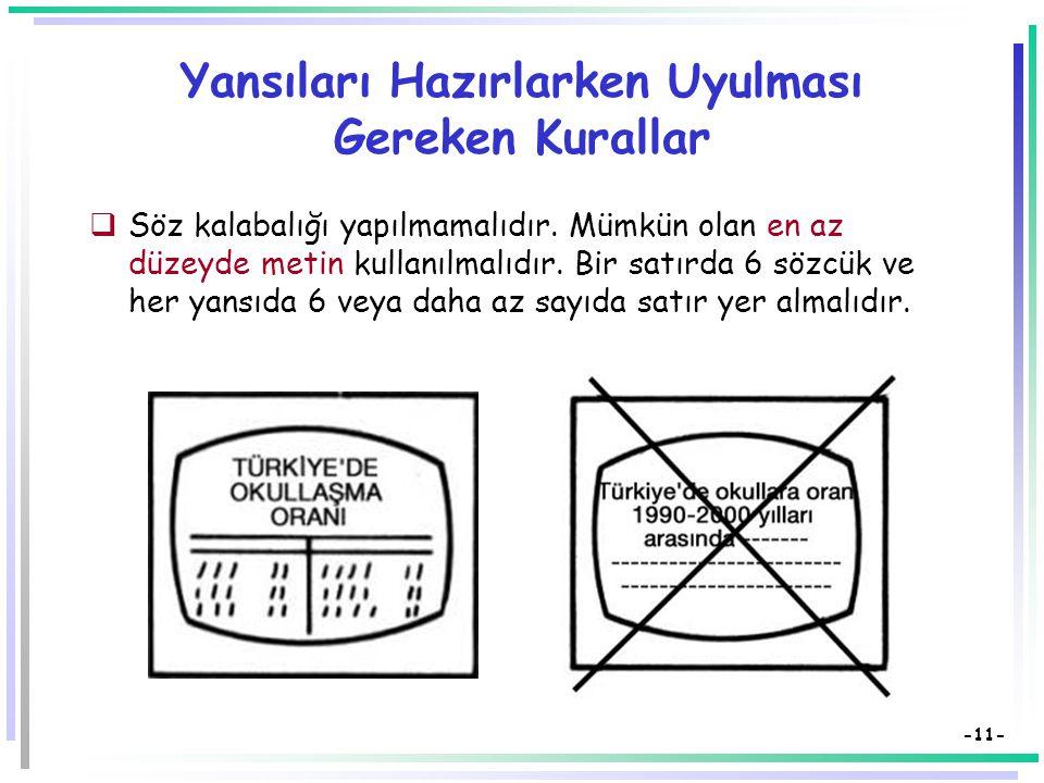 -10- Yansıları Hazırlarken Uyulması Gereken Kurallar  Bir yansıda sadece bir kavram veya sınırlandırılmış konular verilmeye çalışılmalıdır.