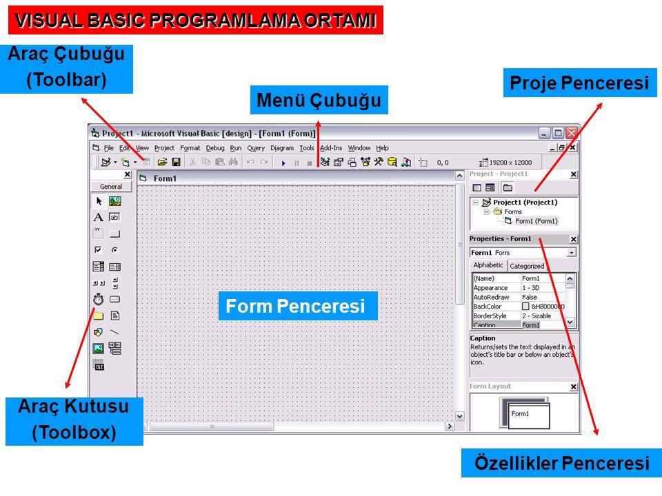 VISUAL BASIC PROGRAMLAMA ORTAMI Araç Kutusu (Toolbox) Araç Çubuğu (Toolbar) Menü Çubuğu Form Penceresi Proje Penceresi Özellikler Penceresi
