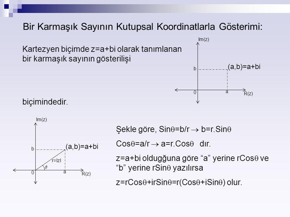 Bir Karmaşık Sayının Kutupsal Koordinatlarla Gösterimi: Kartezyen biçimde z=a+bi olarak tanımlanan bir karmaşık sayının gösterilişi (a,b)=a+bi 0 a b I