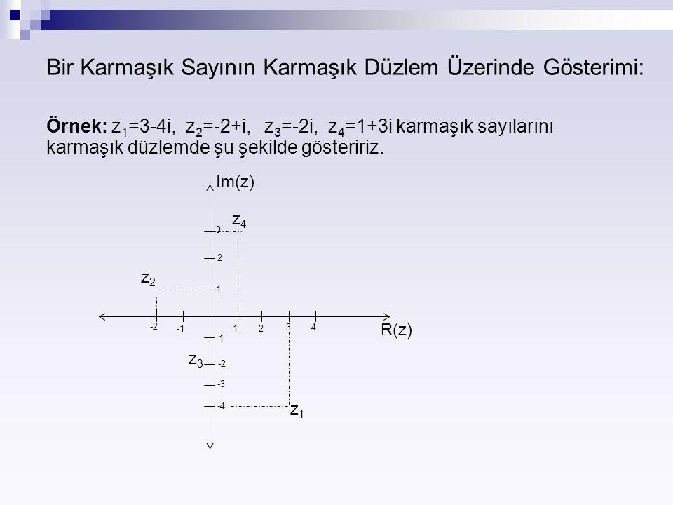 Bir Karmaşık Sayının Karmaşık Düzlem Üzerinde Gösterimi: Örnek: z 1 =3-4i, z 2 =-2+i, z 3 =-2i, z 4 =1+3i karmaşık sayılarını karmaşık düzlemde şu şek