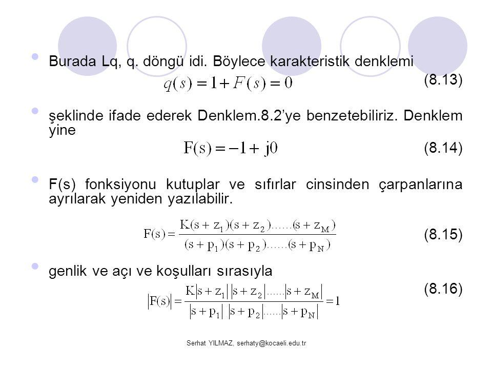 Serhat YILMAZ, serhaty@kocaeli.edu.tr Burada Lq, q. döngü idi. Böylece karakteristik denklemi (8.13) şeklinde ifade ederek Denklem.8.2'ye benzetebilir