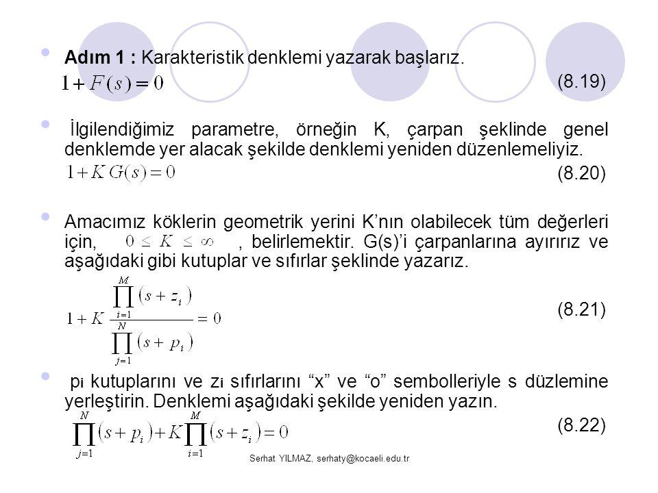 Serhat YILMAZ, serhaty@kocaeli.edu.tr Adım 1 : Karakteristik denklemi yazarak başlarız. (8.19) İlgilendiğimiz parametre, örneğin K, çarpan şeklinde ge