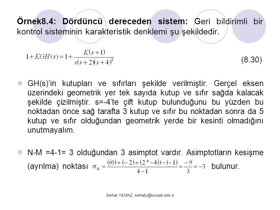 Serhat YILMAZ, serhaty@kocaeli.edu.tr Örnek8.4: Dördüncü dereceden sistem: Geri bildirimli bir kontrol sisteminin karakteristik denklemi şu şekildedir