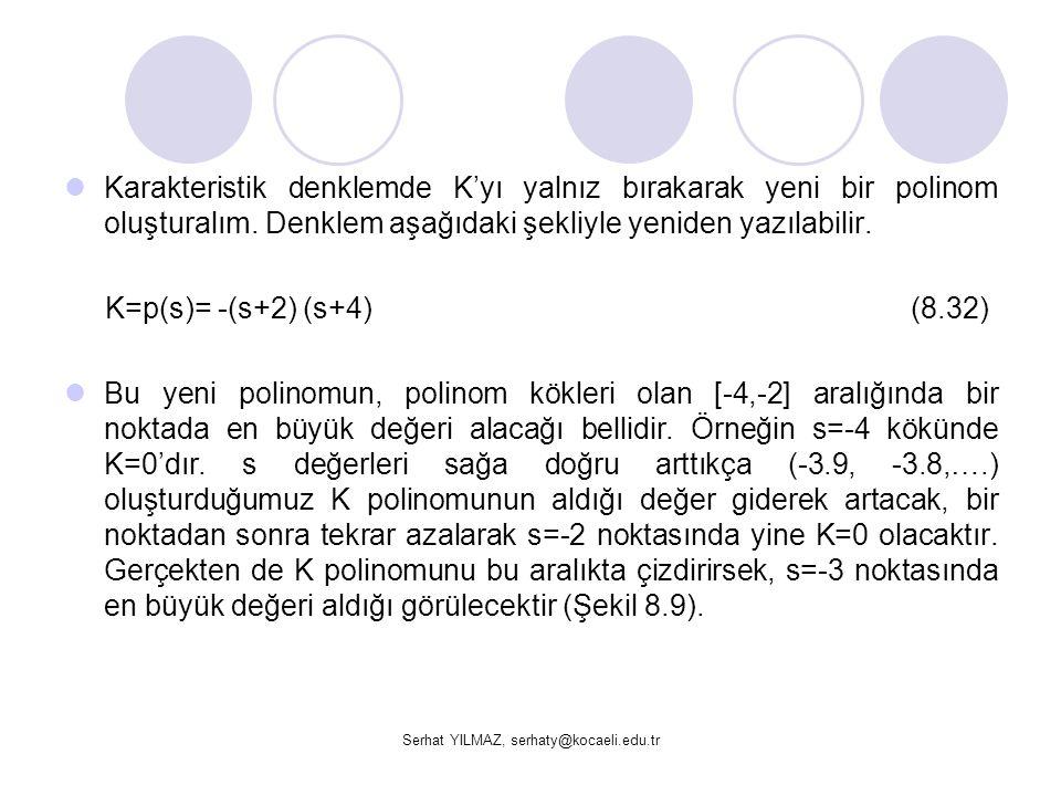 Serhat YILMAZ, serhaty@kocaeli.edu.tr Karakteristik denklemde K'yı yalnız bırakarak yeni bir polinom oluşturalım. Denklem aşağıdaki şekliyle yeniden y
