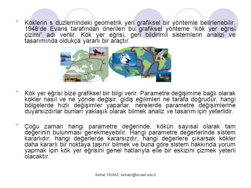 Serhat YILMAZ, serhaty@kocaeli.edu.tr Adım3: Kök yer eğrisini çizmek için asimptotları ve bunların açılarını bulalım.