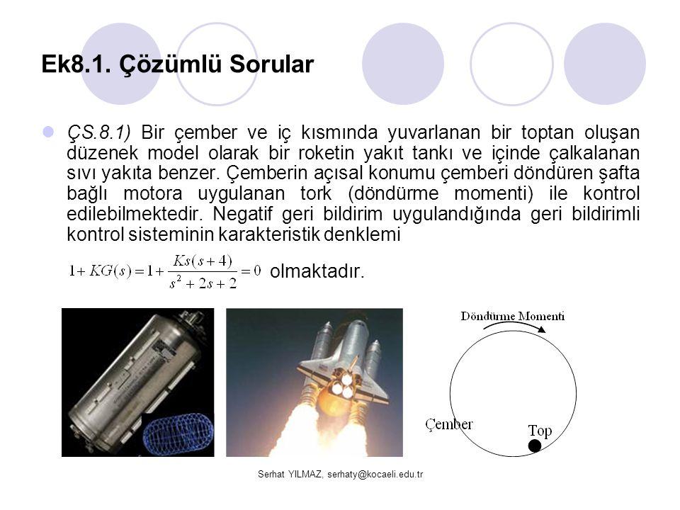 Serhat YILMAZ, serhaty@kocaeli.edu.tr Ek8.1. Çözümlü Sorular ÇS.8.1) Bir çember ve iç kısmında yuvarlanan bir toptan oluşan düzenek model olarak bir r