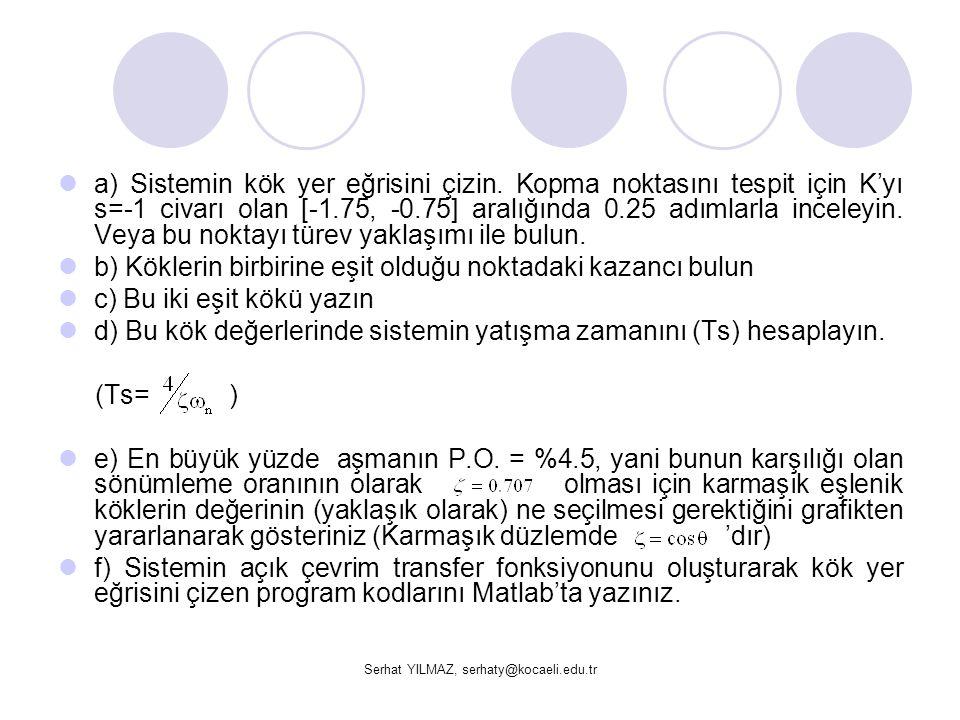 Serhat YILMAZ, serhaty@kocaeli.edu.tr a) Sistemin kök yer eğrisini çizin. Kopma noktasını tespit için K'yı s=-1 civarı olan [-1.75, -0.75] aralığında