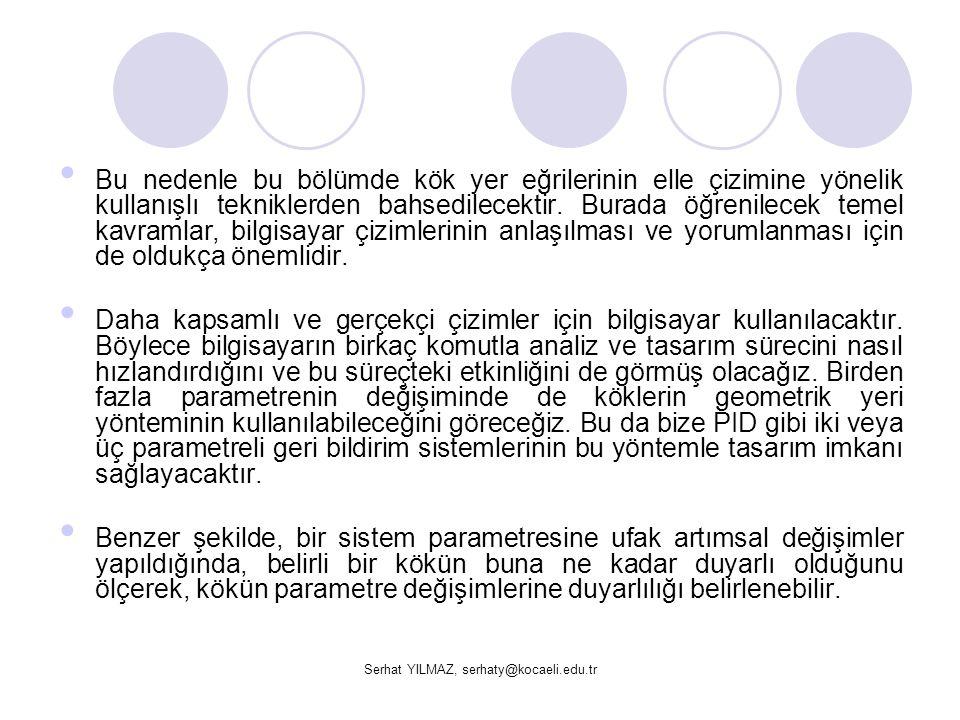 Serhat YILMAZ, serhaty@kocaeli.edu.tr a) Sistemin kök yer eğrisini çizin.
