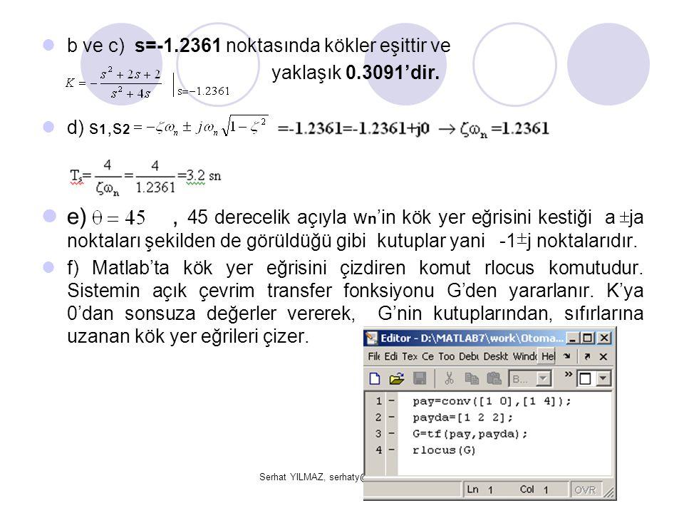 Serhat YILMAZ, serhaty@kocaeli.edu.tr b ve c) s=-1.2361 noktasında kökler eşittir ve yaklaşık 0.3091'dir. d) s 1,s 2 e), 45 derecelik açıyla w n 'in k
