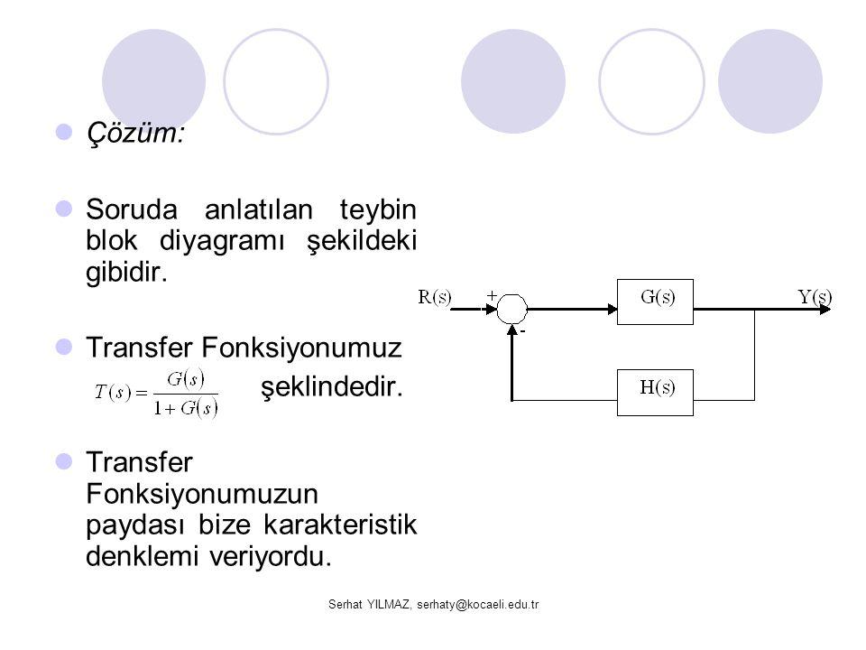 Serhat YILMAZ, serhaty@kocaeli.edu.tr Çözüm: Soruda anlatılan teybin blok diyagramı şekildeki gibidir. Transfer Fonksiyonumuz şeklindedir. Transfer Fo