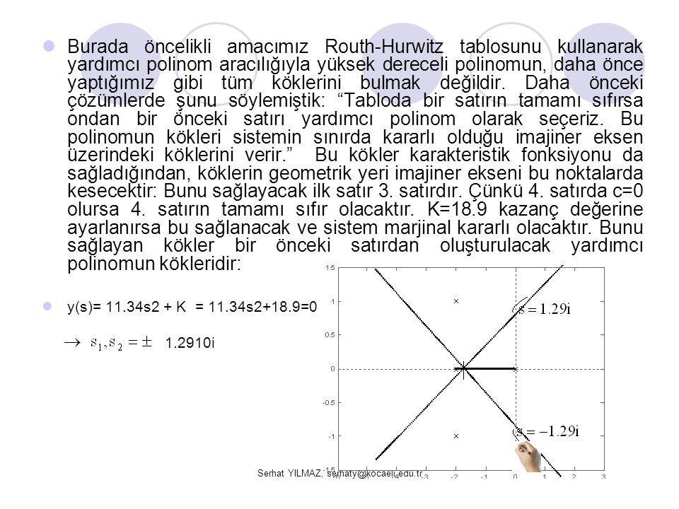 Serhat YILMAZ, serhaty@kocaeli.edu.tr Burada öncelikli amacımız Routh-Hurwitz tablosunu kullanarak yardımcı polinom aracılığıyla yüksek dereceli polin