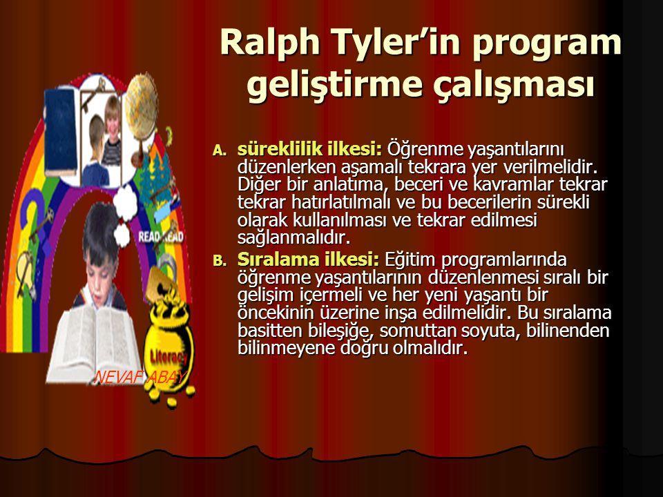 Ralph Tyler'in program geliştirme çalışması A. süreklilik ilkesi: Öğrenme yaşantılarını düzenlerken aşamalı tekrara yer verilmelidir. Diğer bir anlatı