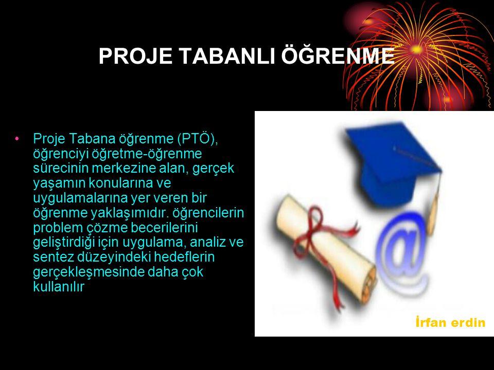 PROJE TABANLI ÖĞRENME Proje Tabana öğrenme (PTÖ), öğrenciyi öğretme-öğrenme sürecinin merkezine alan, gerçek yaşamın konularına ve uygulamalarına yer