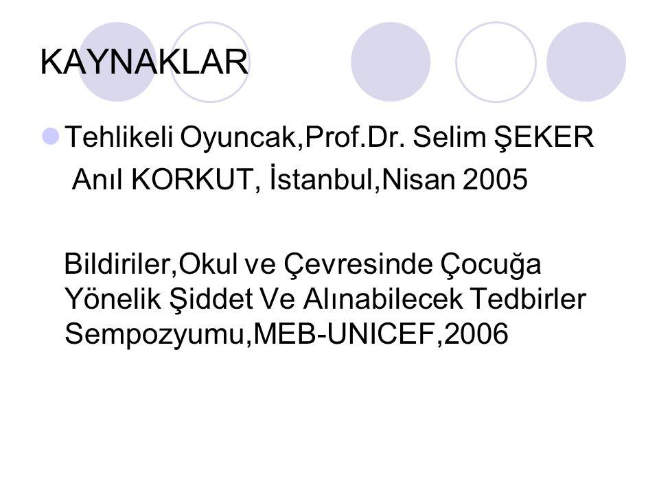 KAYNAKLAR Tehlikeli Oyuncak,Prof.Dr. Selim ŞEKER Anıl KORKUT, İstanbul,Nisan 2005 Bildiriler,Okul ve Çevresinde Çocuğa Yönelik Şiddet Ve Alınabilecek