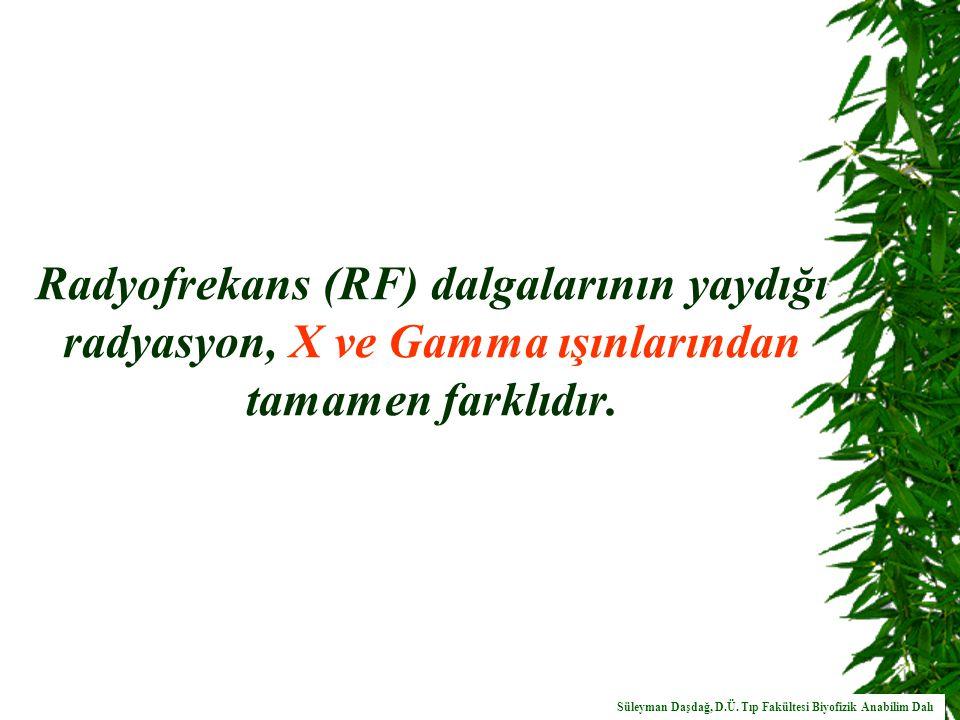 Radyofrekans (RF) dalgalarının yaydığı radyasyon, X ve Gamma ışınlarından tamamen farklıdır.