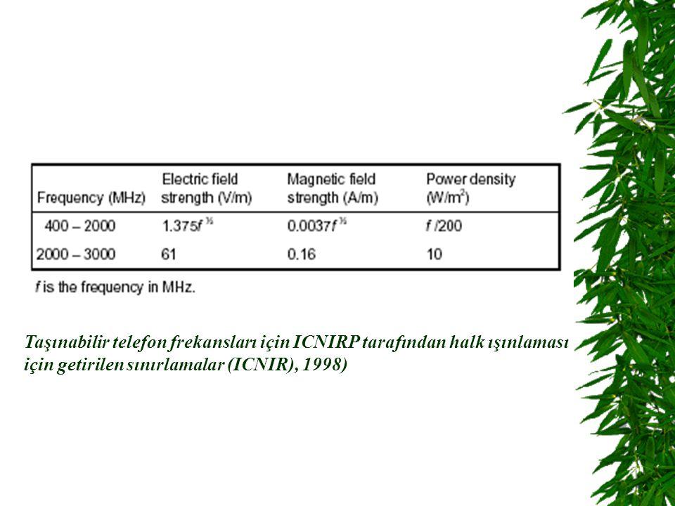 Taşınabilir telefon frekansları için ICNIRP tarafından halk ışınlaması için getirilen sınırlamalar (ICNIR), 1998)