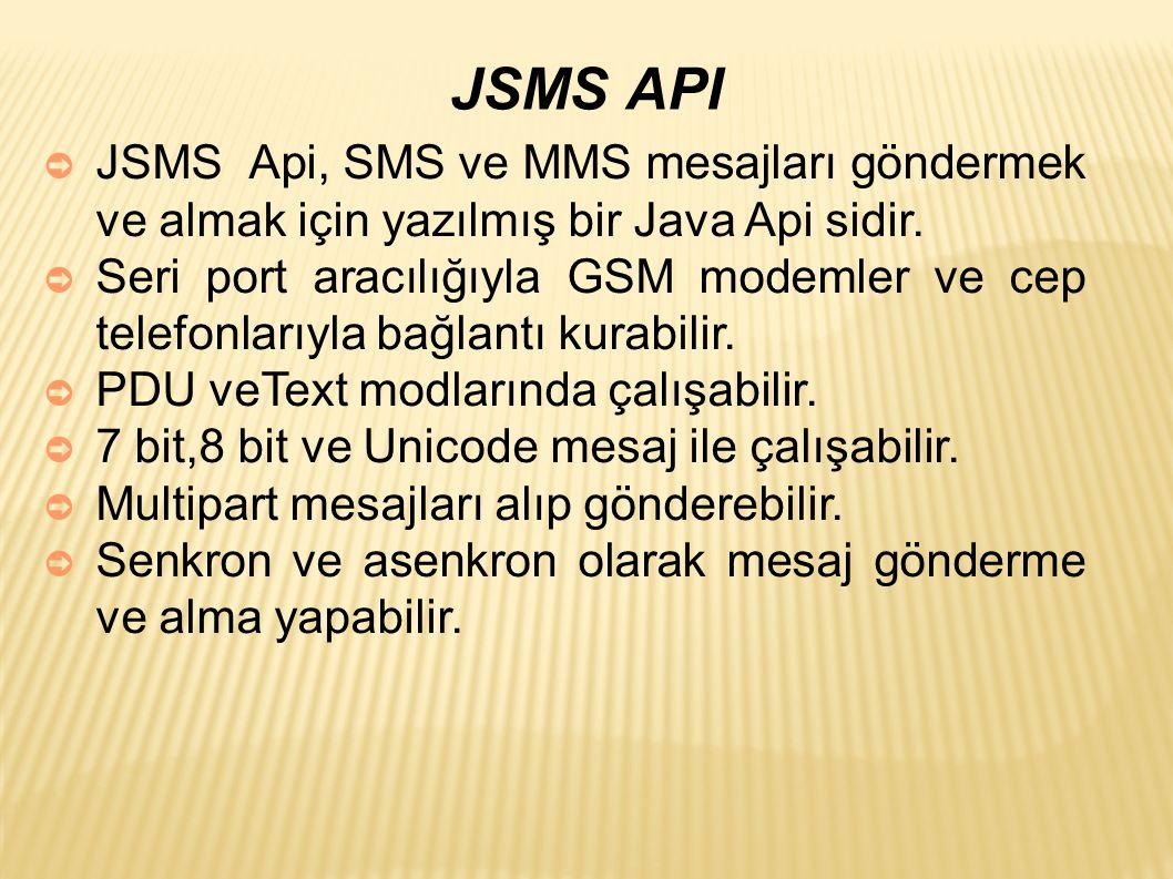 JSMS API ➲ JSMS Api, SMS ve MMS mesajları göndermek ve almak için yazılmış bir Java Api sidir.