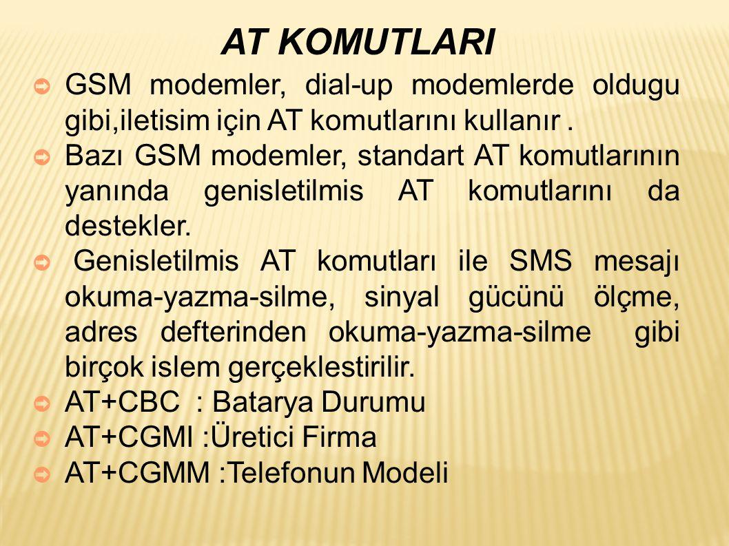 AT KOMUTLARI ➲ GSM modemler, dial-up modemlerde oldugu gibi,iletisim için AT komutlarını kullanır.