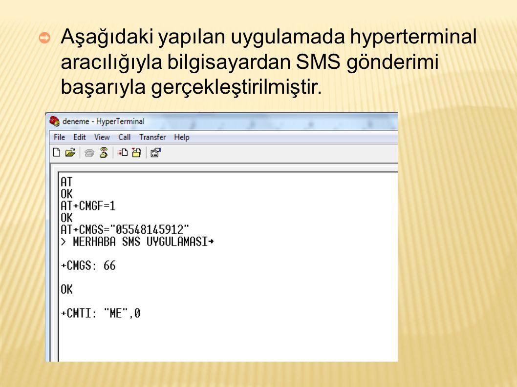➲ Aşağıdaki yapılan uygulamada hyperterminal aracılığıyla bilgisayardan SMS gönderimi başarıyla gerçekleştirilmiştir.