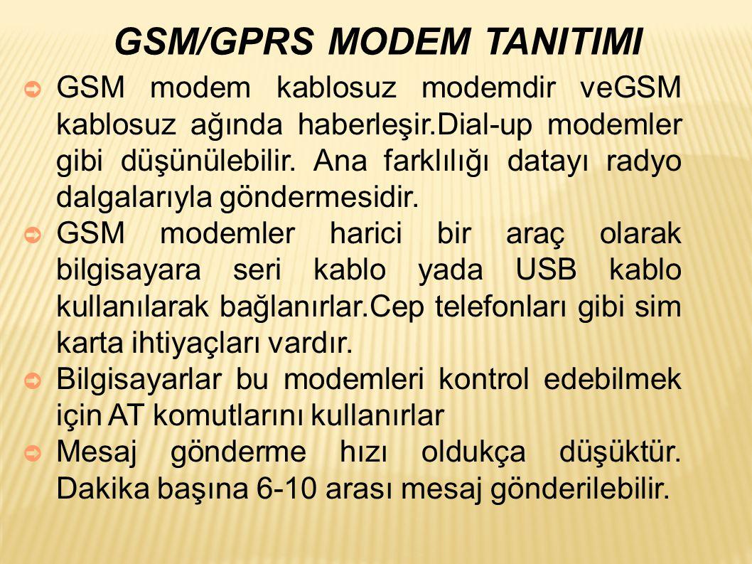 GSM/GPRS MODEM TANITIMI ➲ GSM modem kablosuz modemdir veGSM kablosuz ağında haberleşir.Dial-up modemler gibi düşünülebilir.