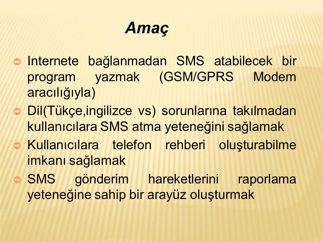 Amaç ➲ Internete bağlanmadan SMS atabilecek bir program yazmak (GSM/GPRS Modem aracılığıyla) ➲ Dil(Tükçe,ingilizce vs) sorunlarına takılmadan kullanıcılara SMS atma yeteneğini sağlamak ➲ Kullanıcılara telefon rehberi oluşturabilme imkanı sağlamak ➲ SMS gönderim hareketlerini raporlama yeteneğine sahip bir arayüz oluşturmak