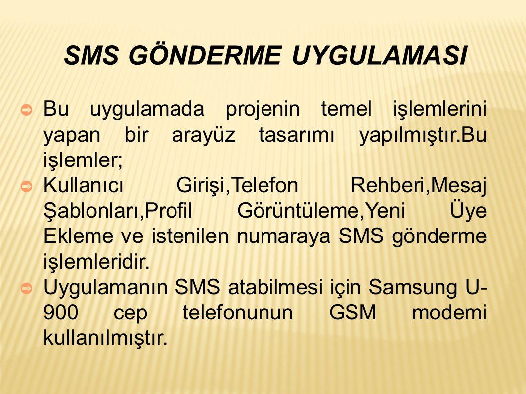 SMS GÖNDERME UYGULAMASI ➲ Bu uygulamada projenin temel işlemlerini yapan bir arayüz tasarımı yapılmıştır.Bu işlemler; ➲ Kullanıcı Girişi,Telefon Rehberi,Mesaj Şablonları,Profil Görüntüleme,Yeni Üye Ekleme ve istenilen numaraya SMS gönderme işlemleridir.