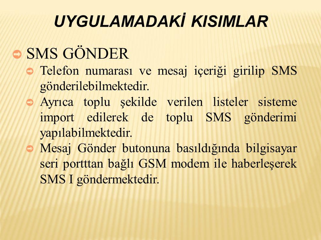 ➲ SMS GÖNDER ➲ Telefon numarası ve mesaj içeriği girilip SMS gönderilebilmektedir.