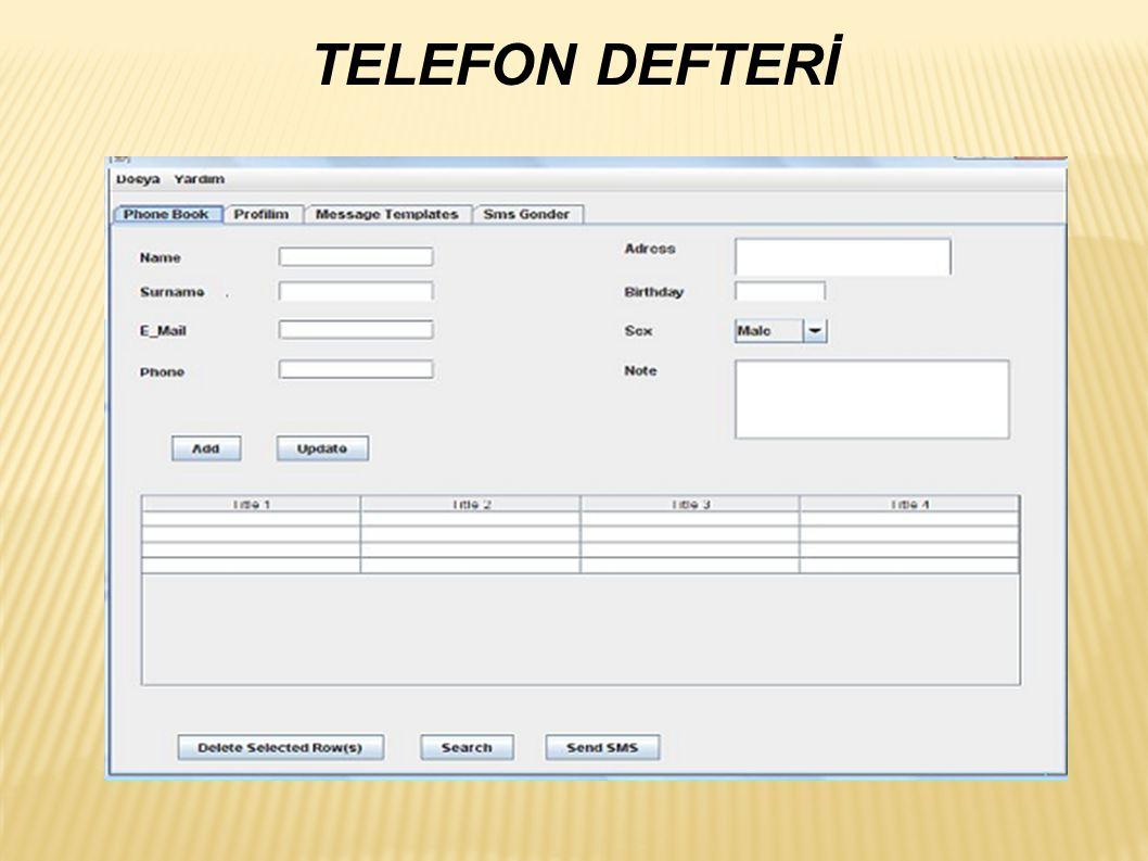 TELEFON DEFTERİ