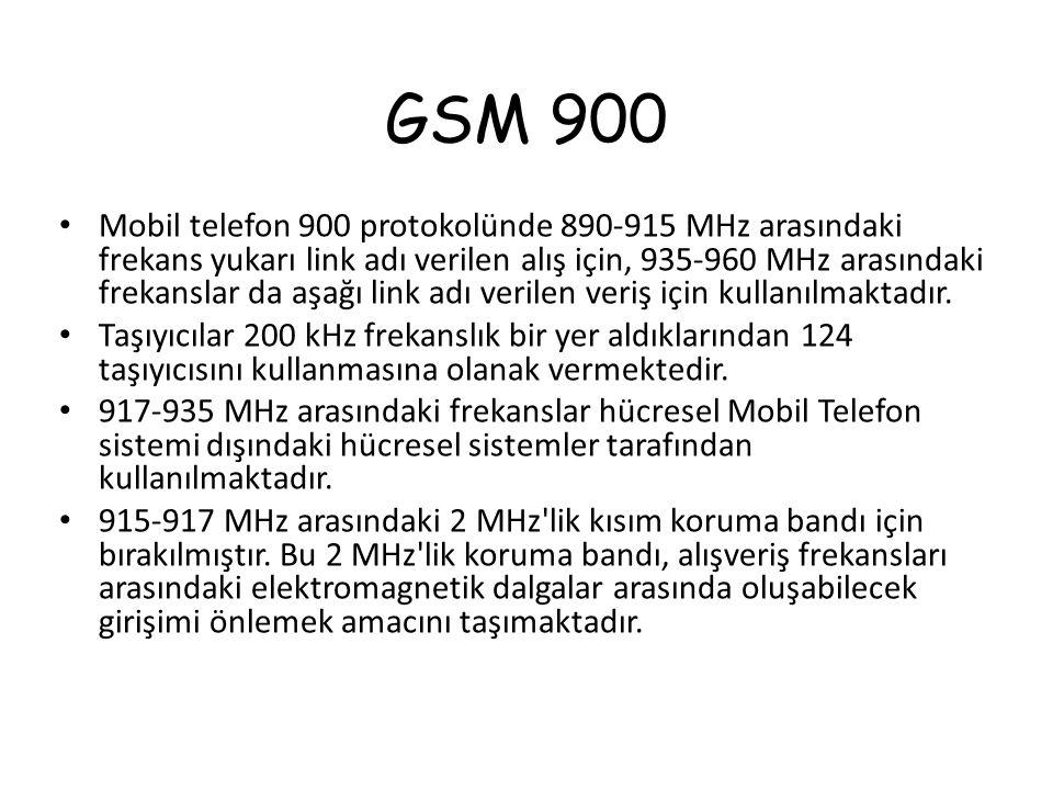 GSM 900 Mobil telefon 900 protokolünde 890-915 MHz arasındaki frekans yukarı link adı verilen alış için, 935-960 MHz arasındaki frekanslar da aşağı li