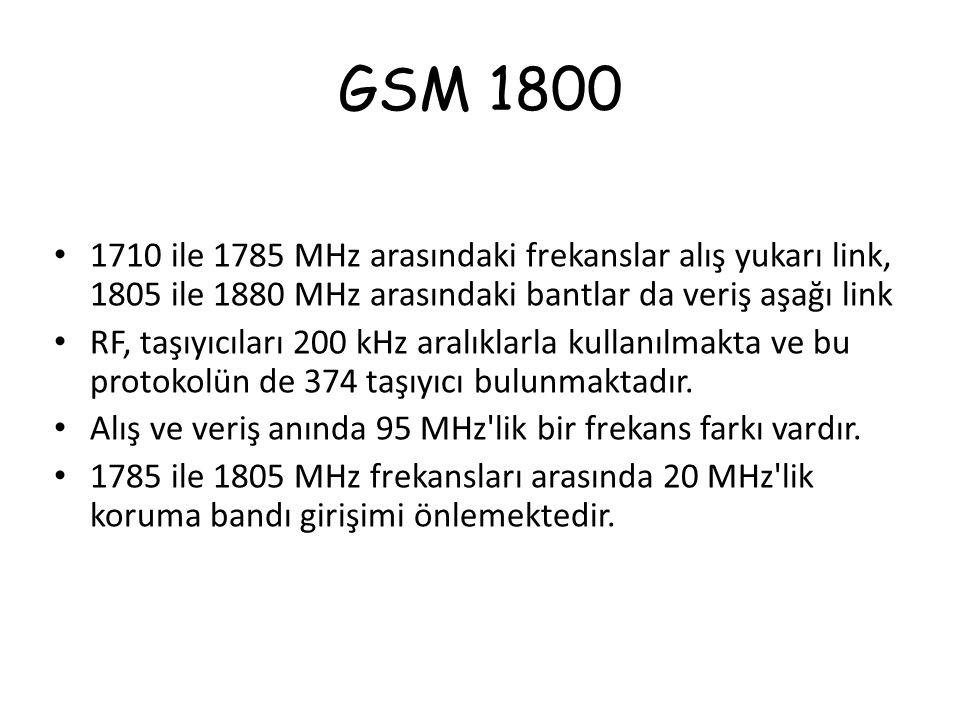 GSM 1800 1710 ile 1785 MHz arasındaki frekanslar alış yukarı link, 1805 ile 1880 MHz arasındaki bantlar da veriş aşağı link RF, taşıyıcıları 200 kHz a