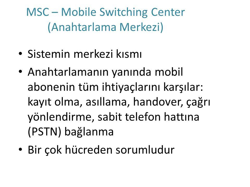 MSC – Mobile Switching Center (Anahtarlama Merkezi) Sistemin merkezi kısmı Anahtarlamanın yanında mobil abonenin tüm ihtiyaçlarını karşılar: kayıt olm