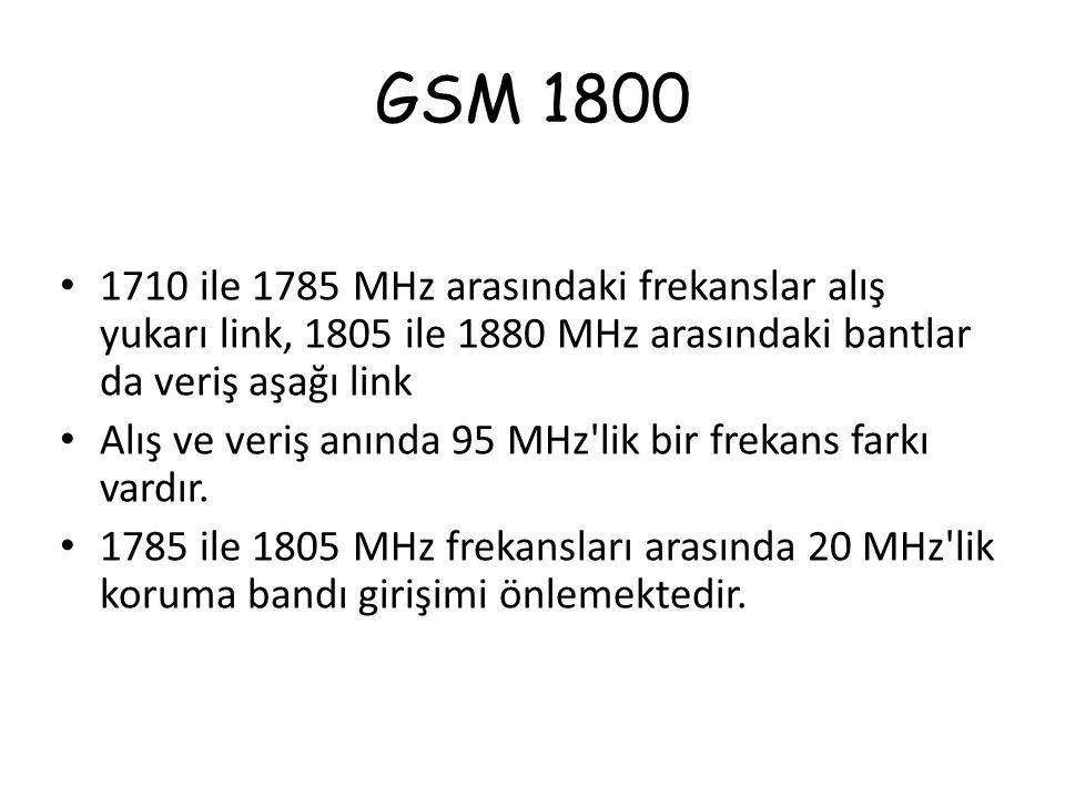 GSM 1800 1710 ile 1785 MHz arasındaki frekanslar alış yukarı link, 1805 ile 1880 MHz arasındaki bantlar da veriş aşağı link Alış ve veriş anında 95 MH
