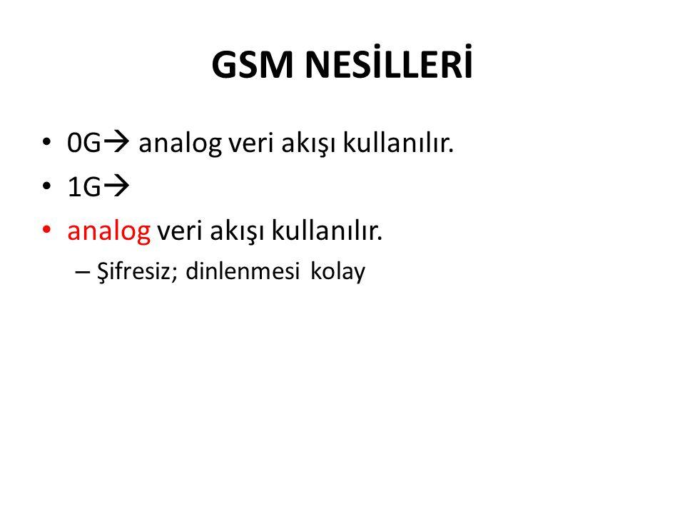 GSM NESİLLERİ 0G  analog veri akışı kullanılır. 1G  analog veri akışı kullanılır. – Şifresiz; dinlenmesi kolay