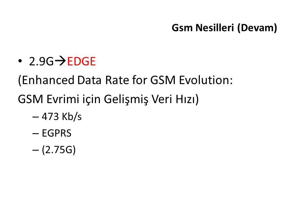 Gsm Nesilleri (Devam) 2.9G  EDGE (Enhanced Data Rate for GSM Evolution: GSM Evrimi için Gelişmiş Veri Hızı) – 473 Kb/s – EGPRS – (2.75G)